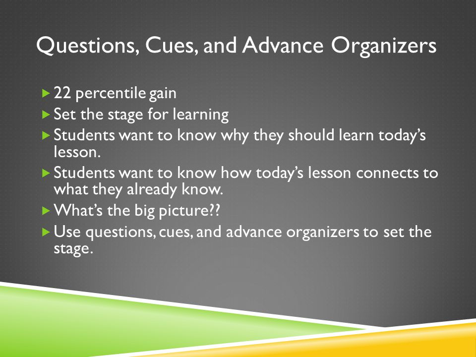 Questions, Cues, and Advance Organizers  22 percentile gain  Set the stage for learning  Students want to know why they should learn today's lesson.