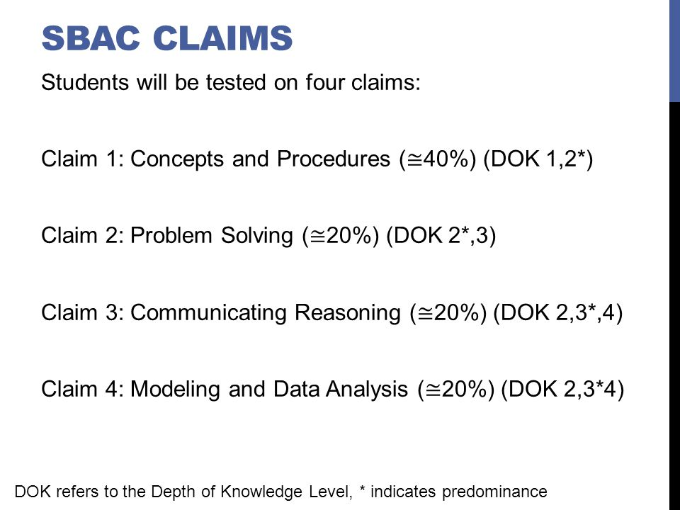 SBAC CLAIM 2 Students can solve a range of complex well-posed problems in pure and applied mathematics, making productive use of knowledge and problem solving strategies.