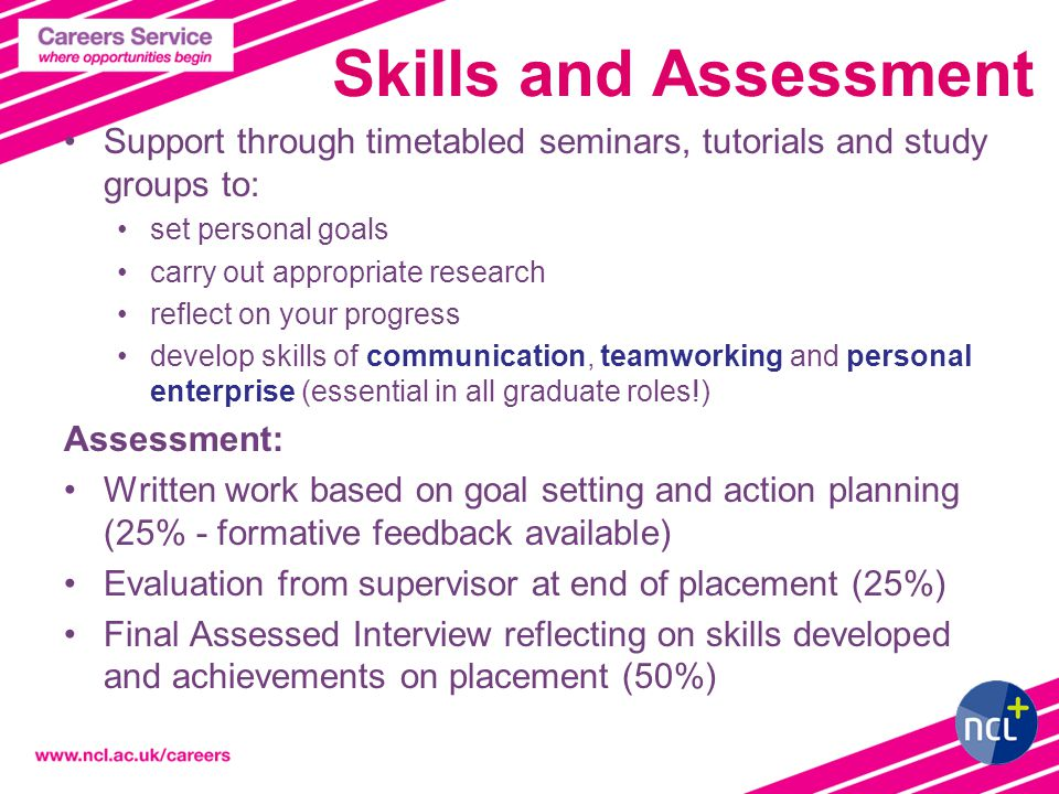 Skills and Assessment Support through timetabled seminars, tutorials and study groups to: set personal goals carry out appropriate research reflect on your progress develop skills of communication, teamworking and personal enterprise (essential in all graduate roles!) Assessment: Written work based on goal setting and action planning (25% - formative feedback available) Evaluation from supervisor at end of placement (25%) Final Assessed Interview reflecting on skills developed and achievements on placement (50%)