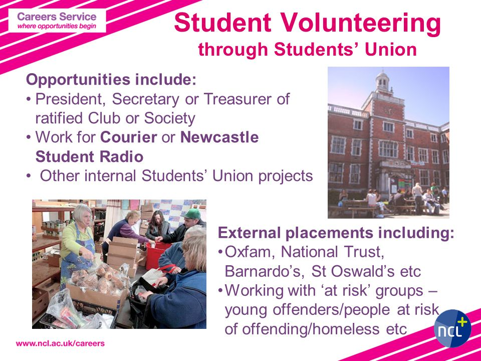 Student Volunteering through Students' Union External placements including: Oxfam, National Trust, Barnardo's, St Oswald's etc Working with 'at risk' groups – young offenders/people at risk of offending/homeless etc Opportunities include: President, Secretary or Treasurer of ratified Club or Society Work for Courier or Newcastle Student Radio Other internal Students' Union projects