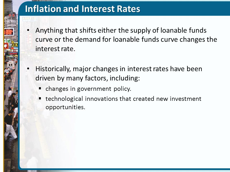 Inflation and Interest Rates Anything that shifts either the supply of loanable funds curve or the demand for loanable funds curve changes the interes