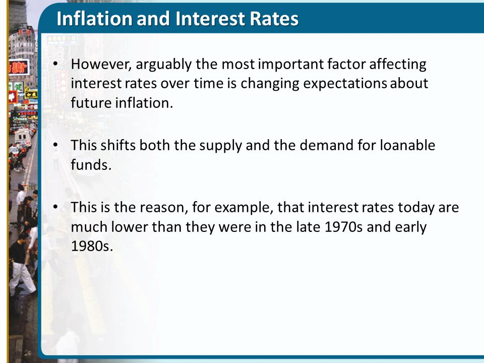 Inflation and Interest Rates However, arguably the most important factor affecting interest rates over time is changing expectations about future infl