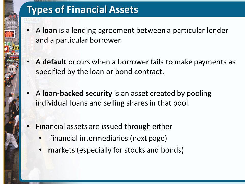 Types of Financial Assets A loan is a lending agreement between a particular lender and a particular borrower. A default occurs when a borrower fails