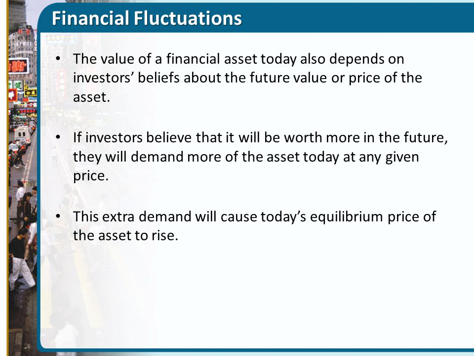Financial Fluctuations The value of a financial asset today also depends on investors' beliefs about the future value or price of the asset. If invest