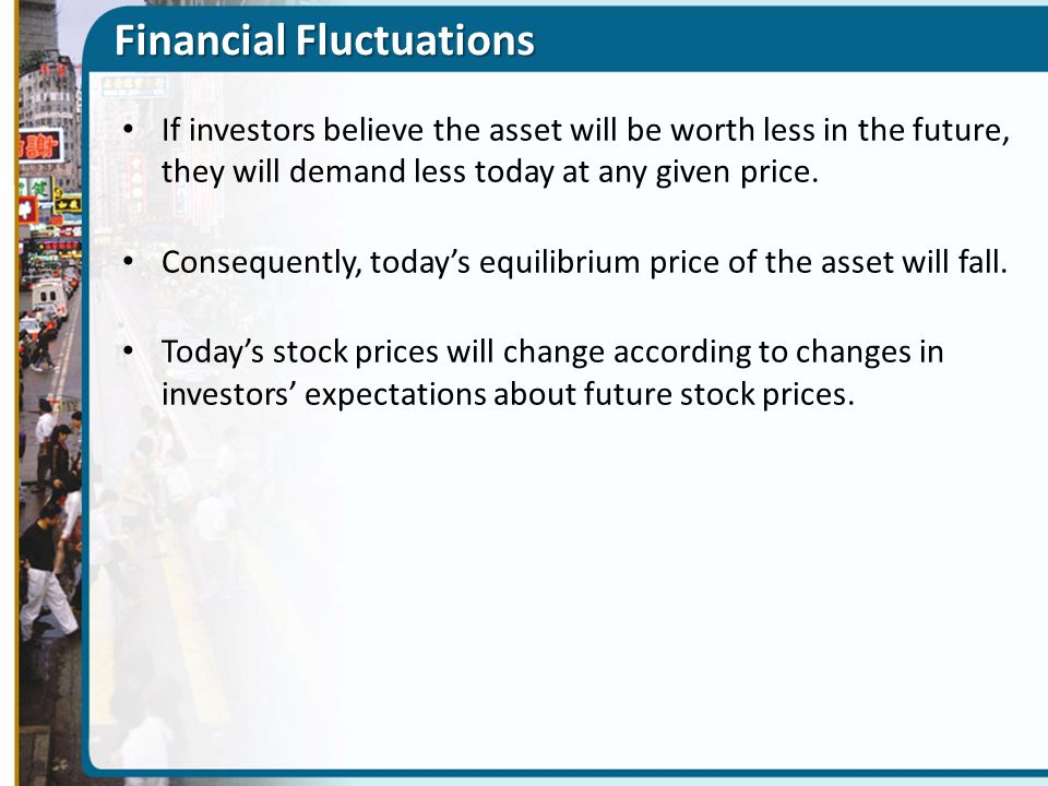 Financial Fluctuations If investors believe the asset will be worth less in the future, they will demand less today at any given price. Consequently,