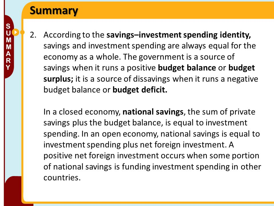 2.According to the savings–investment spending identity, savings and investment spending are always equal for the economy as a whole. The government i