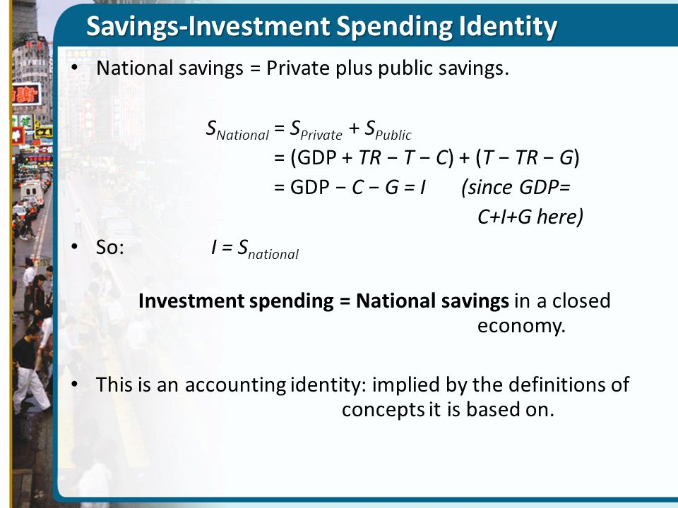 Savings-Investment Identity in an Open Economy Open economy in the goods market: non-Canadians buy our goods and sell goods to us.