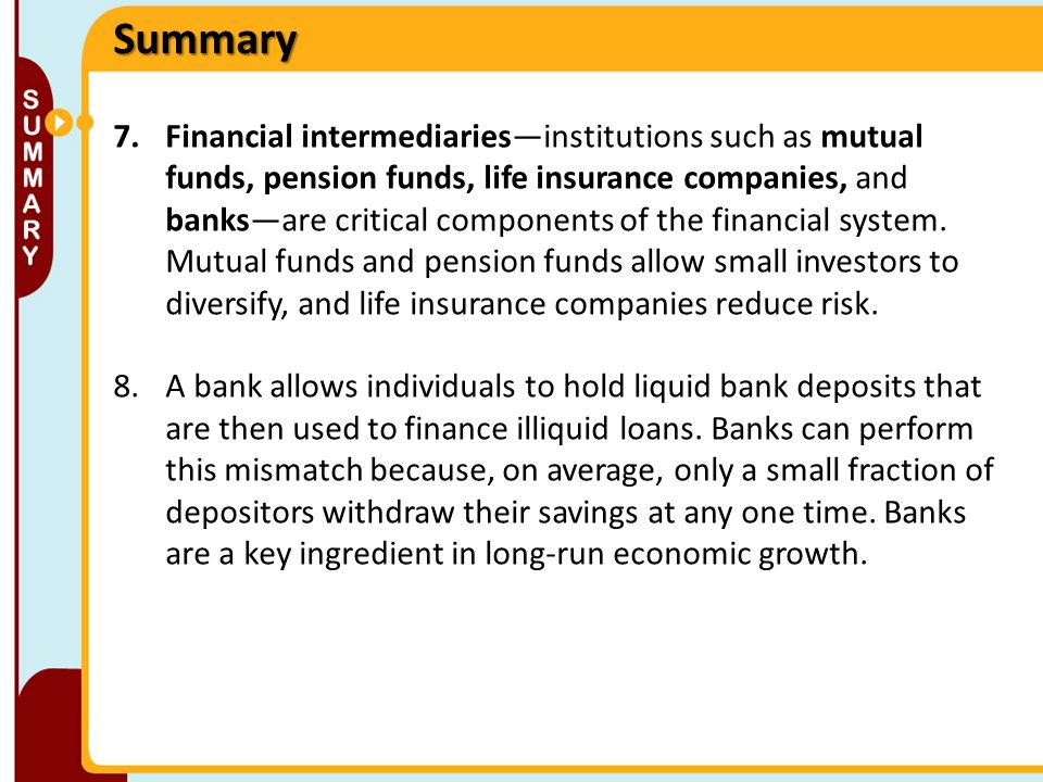 7.Financial intermediaries—institutions such as mutual funds, pension funds, life insurance companies, and banks—are critical components of the financ