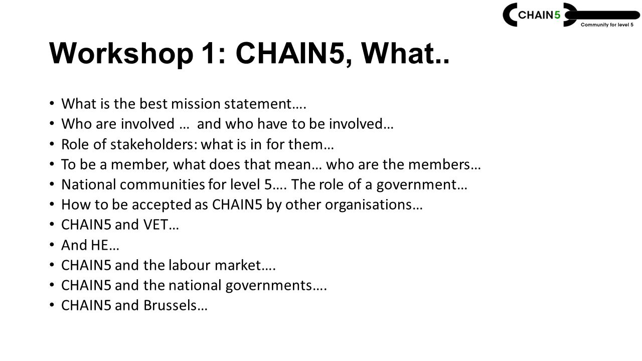 Workshop 1: CHAIN5, What.. What is the best mission statement….