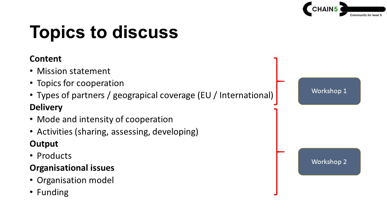 Topics to discuss Content Mission statement Topics for cooperation Types of partners / geograpical coverage (EU / International) Delivery Mode and intensity of cooperation Activities (sharing, assessing, developing) Output Products Organisational issues Organisation model Funding Workshop 1 Workshop 2