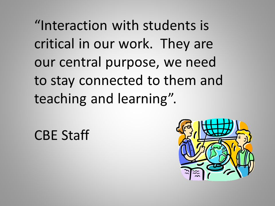 Interaction with students is critical in our work.