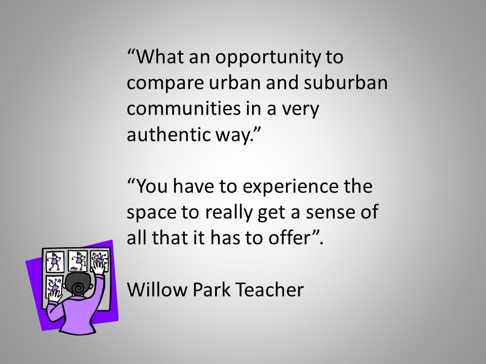 What an opportunity to compare urban and suburban communities in a very authentic way. You have to experience the space to really get a sense of all that it has to offer .