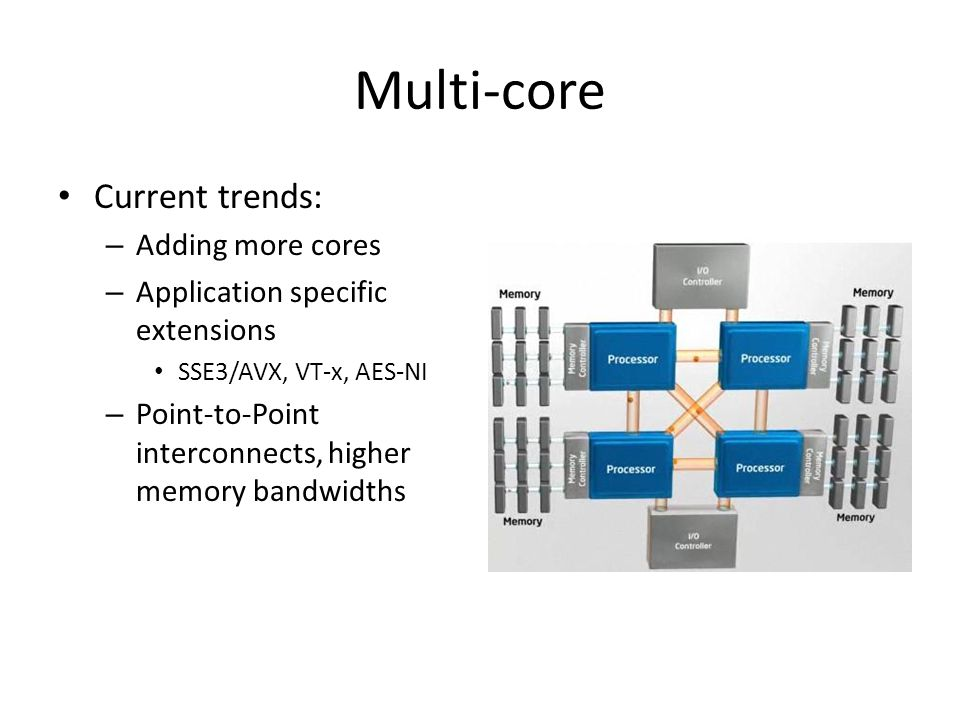 Multi-core Current trends: – Adding more cores – Application specific extensions SSE3/AVX, VT-x, AES-NI – Point-to-Point interconnects, higher memory bandwidths