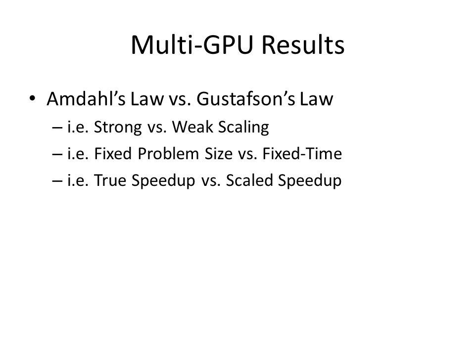 Multi-GPU Results Amdahl's Law vs. Gustafson's Law – i.e.