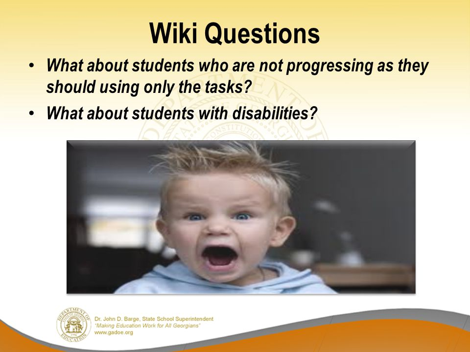 Wiki Questions What about students who are not progressing as they should using only the tasks.