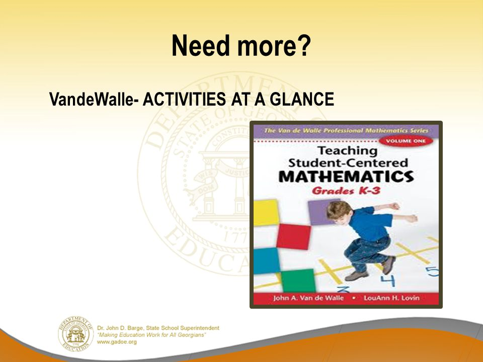Need more? VandeWalle- ACTIVITIES AT A GLANCE