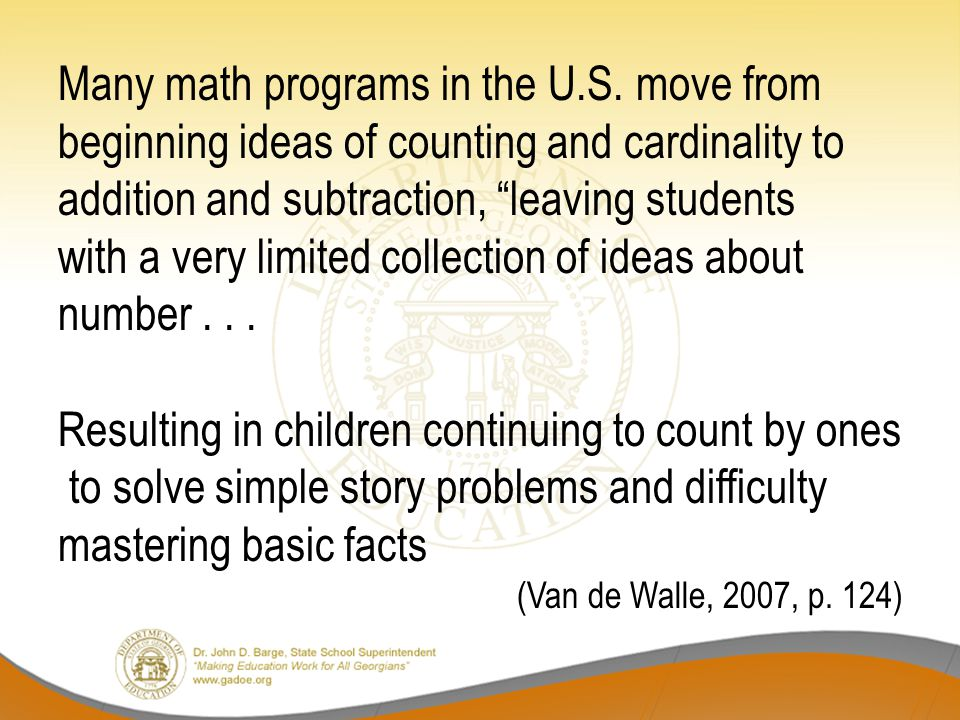 Many math programs in the U.S.