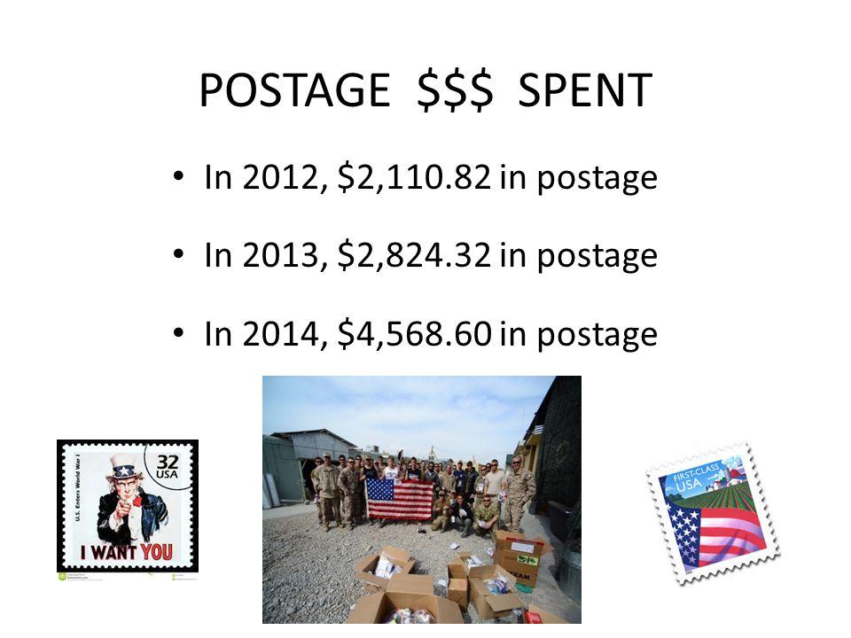 POSTAGE $$$ SPENT In 2012, $2,110.82 in postage In 2013, $2,824.32 in postage In 2014, $4,568.60 in postage