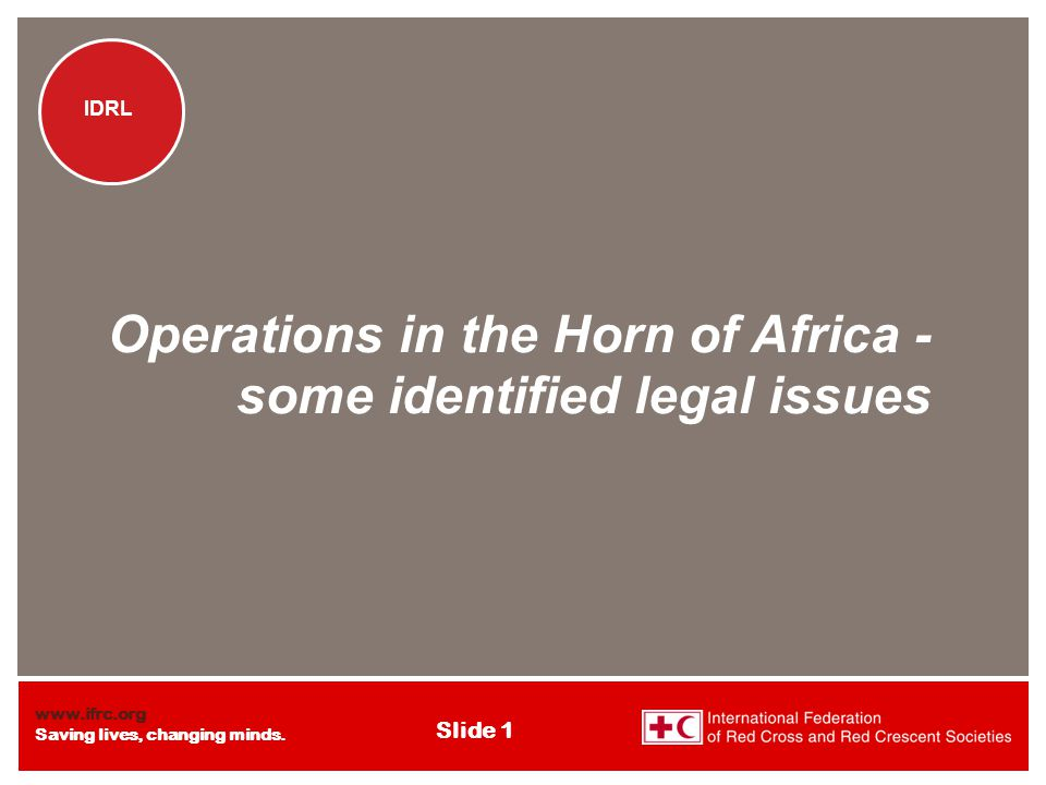 www.ifrc.org Saving lives, changing minds. IDRL Slide 1 IDRL Operations in the Horn of Africa - some identified legal issues