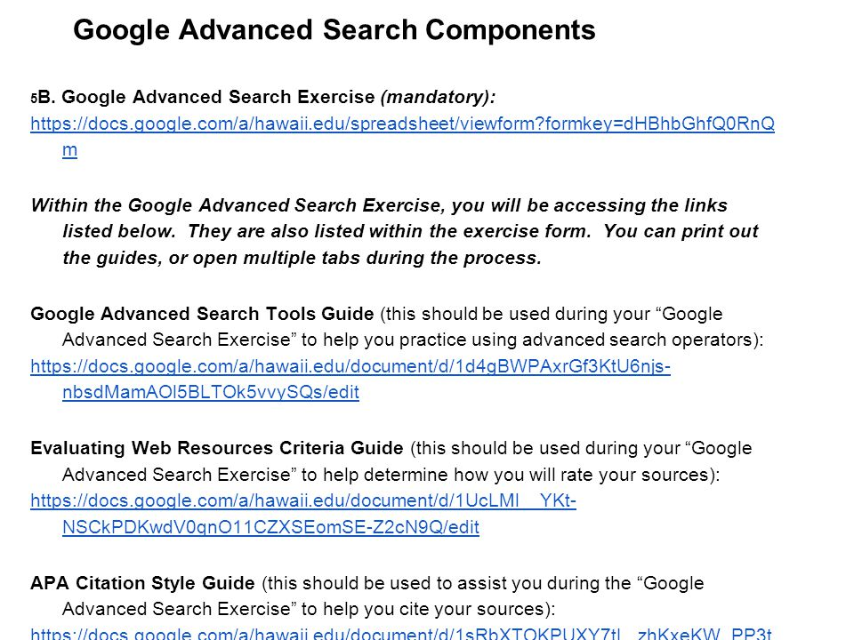 Google Advanced Search Components 5 B.