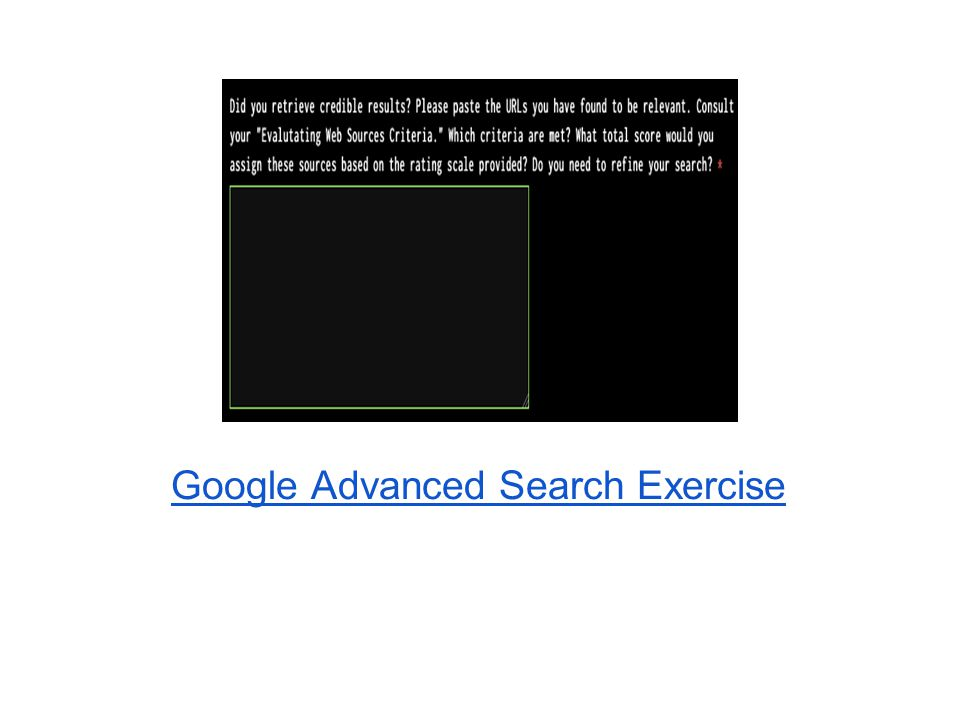Google Advanced Search Exercise