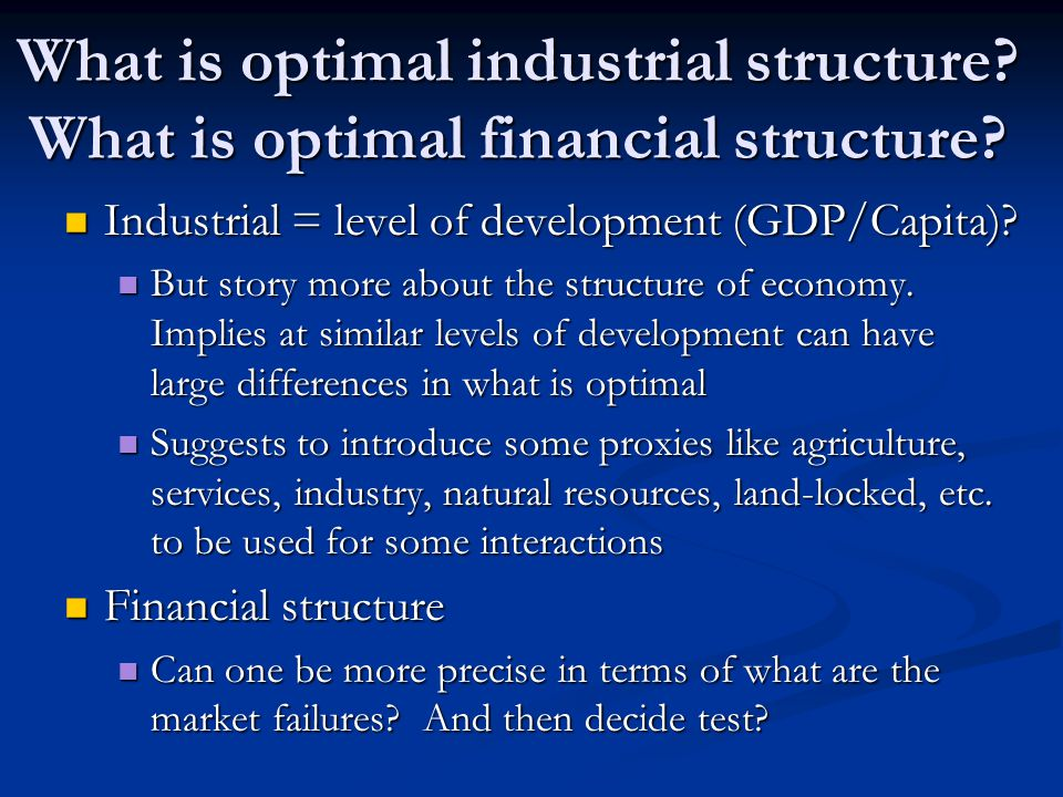 What is optimal industrial structure. What is optimal financial structure.