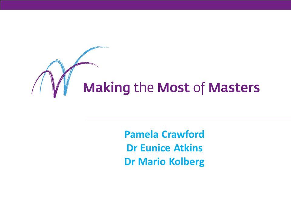 . Pamela Crawford Dr Eunice Atkins Dr Mario Kolberg