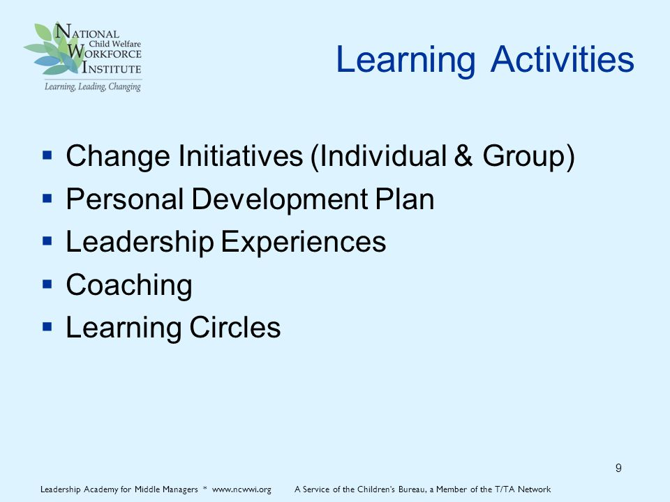 Learning Activities  Change Initiatives (Individual & Group)  Personal Development Plan  Leadership Experiences  Coaching  Learning Circles 9 Leadership Academy for Middle Managers * www.ncwwi.org A Service of the Children s Bureau, a Member of the T/TA Network