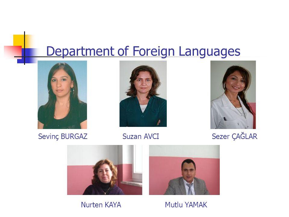 Sevinç BURGAZ Suzan AVCI Sezer ÇAĞLAR Department of Foreign Languages Nurten KAYA Mutlu YAMAK