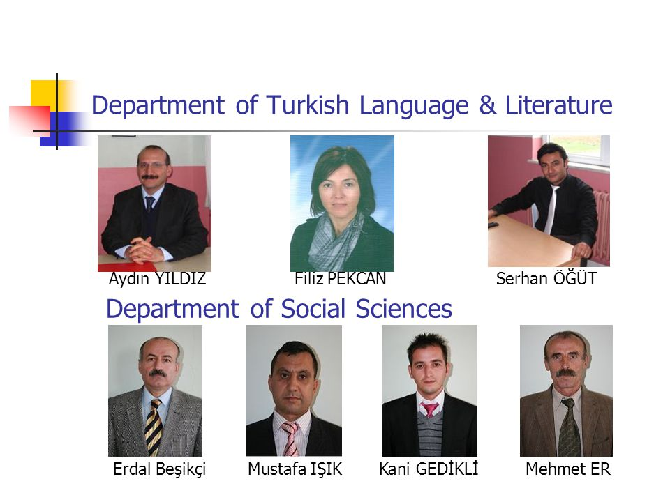 Department of Turkish Language & Literature Aydın YILDIZFiliz PEKCAN Serhan ÖĞÜT Department of Social Sciences Erdal Beşikçi Mustafa IŞIK Kani GEDİKLİ Mehmet ER