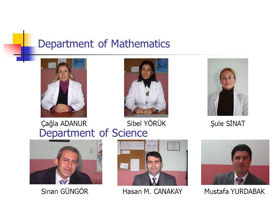 Department of Mathematics Çağla ADANUR Sibel YÖRÜK Şule SİNAT Sinan GÜNGÖR Hasan M.