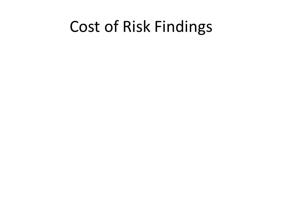Cost of Risk Findings