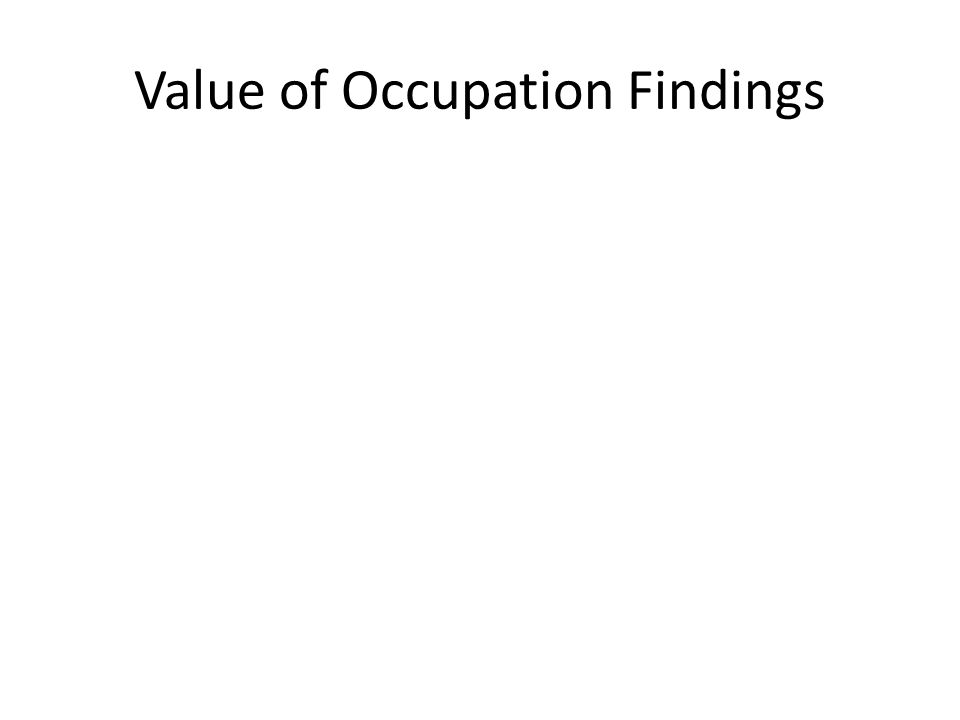 Value of Occupation Findings