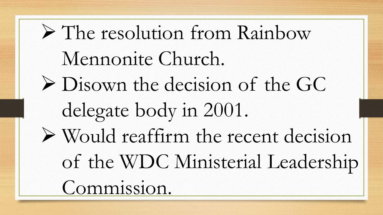  The resolution from Rainbow Mennonite Church.