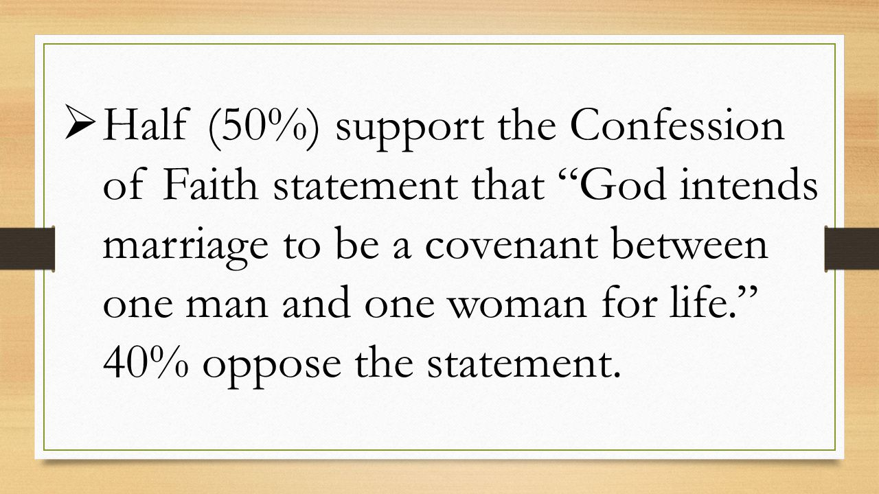  Half (50%) support the Confession of Faith statement that God intends marriage to be a covenant between one man and one woman for life. 40% oppose the statement.
