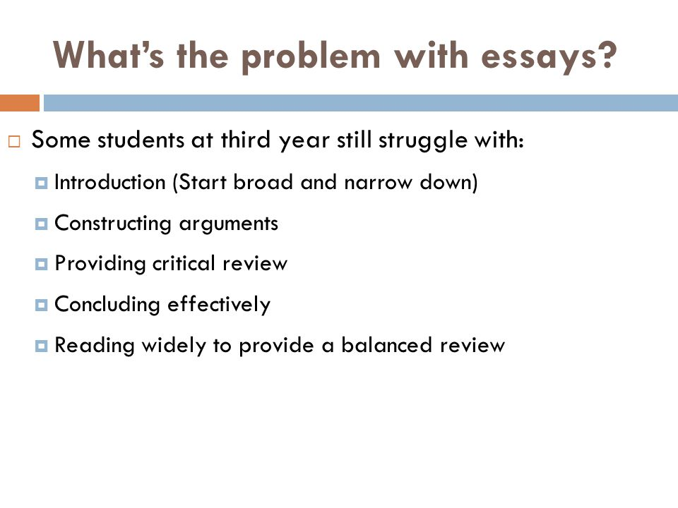 What's the problem with essays.