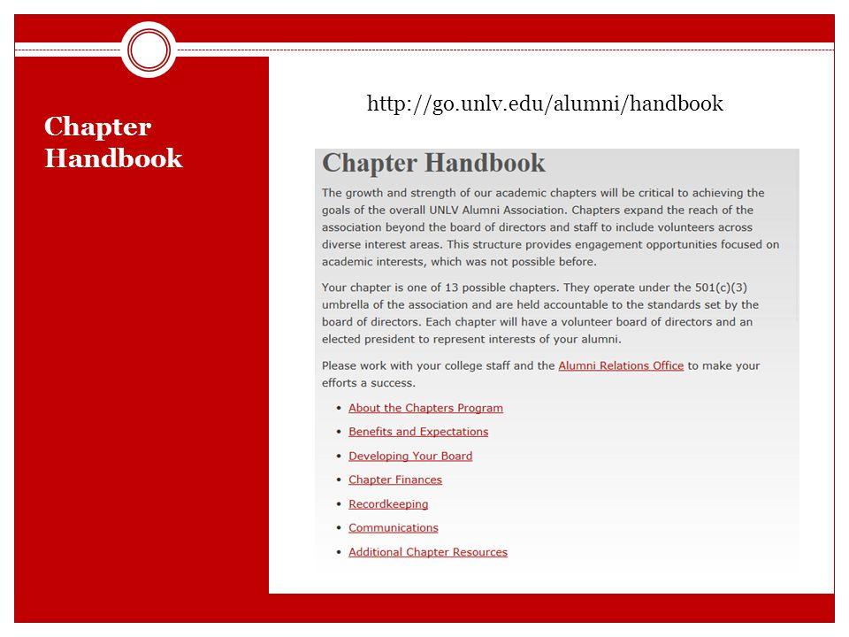 Chapter Handbook http://go.unlv.edu/alumni/handbook