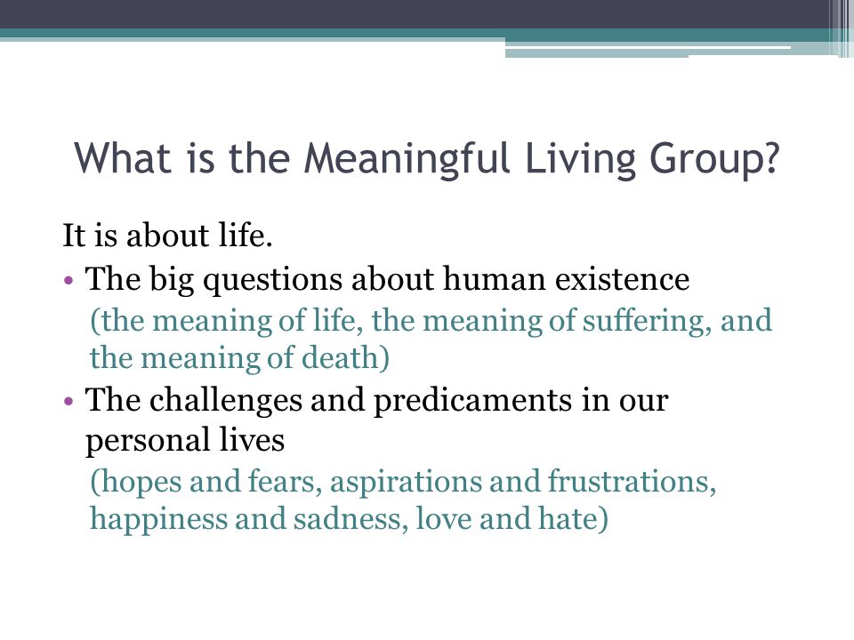 What is the Meaningful Living Group. It is about life.