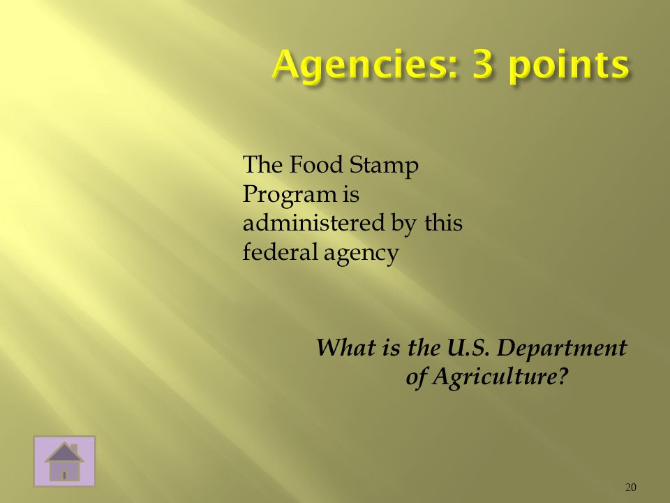 What is the U.S. Department of Agriculture 20