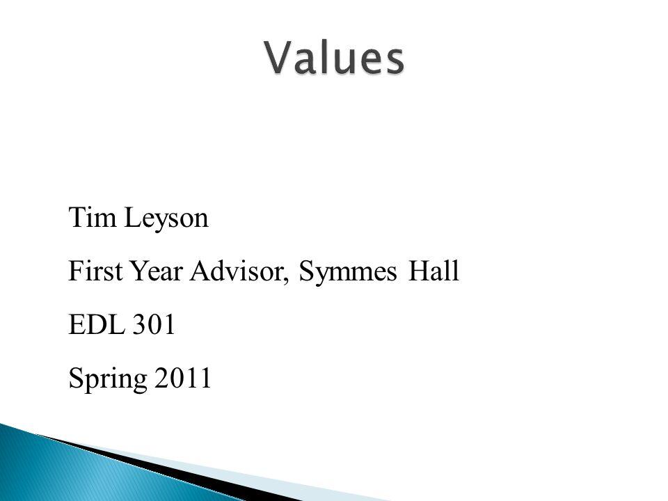 Tim Leyson First Year Advisor, Symmes Hall EDL 301 Spring 2011