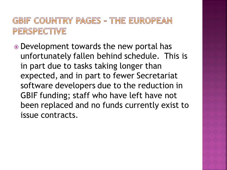  Development towards the new portal has unfortunately fallen behind schedule.