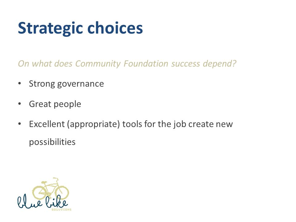 Strategic choices On what does Community Foundation success depend.