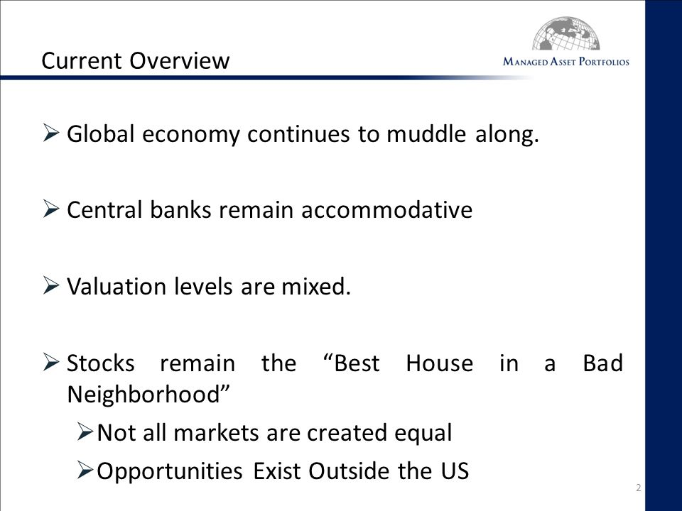 Current Overview  Global economy continues to muddle along.