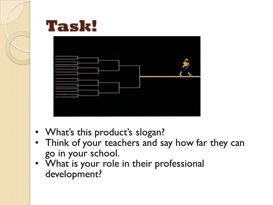 Task! What's this product's slogan? Think of your teachers and say how far they can go in your school. What is your role in their professional develop