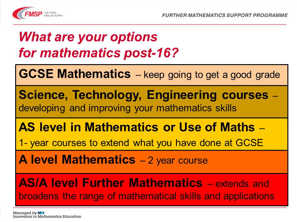 What are your options for mathematics post-16.