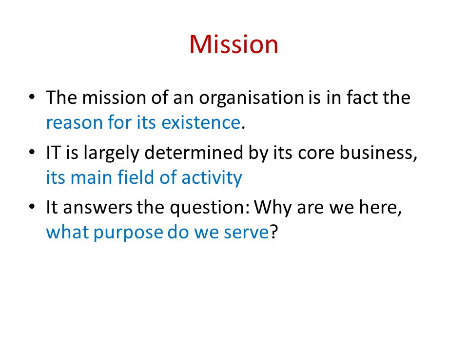 Mission The mission of an organisation is in fact the reason for its existence. IT is largely determined by its core business, its main field of activ