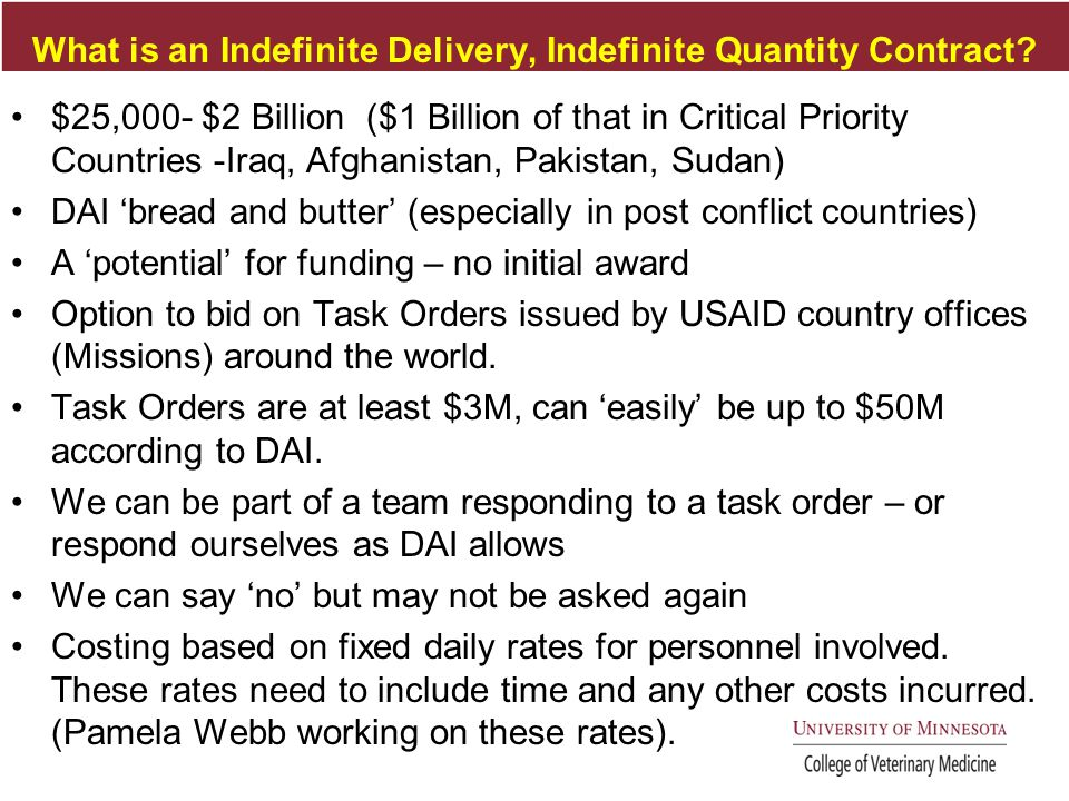 What is an Indefinite Delivery, Indefinite Quantity Contract.