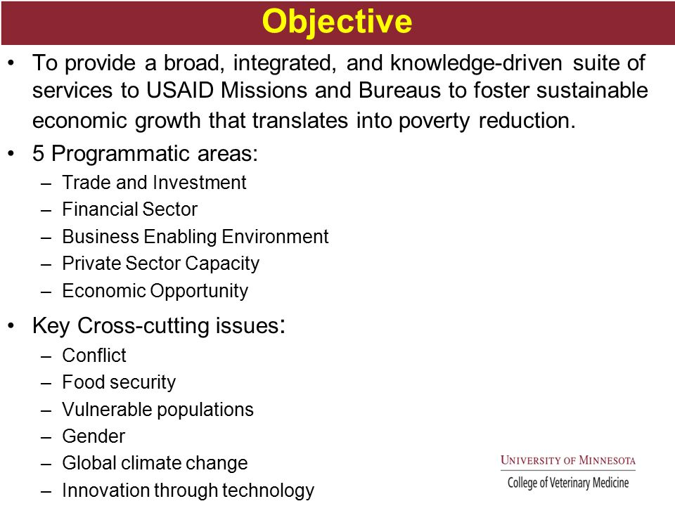 Objective To provide a broad, integrated, and knowledge-driven suite of services to USAID Missions and Bureaus to foster sustainable economic growth that translates into poverty reduction.