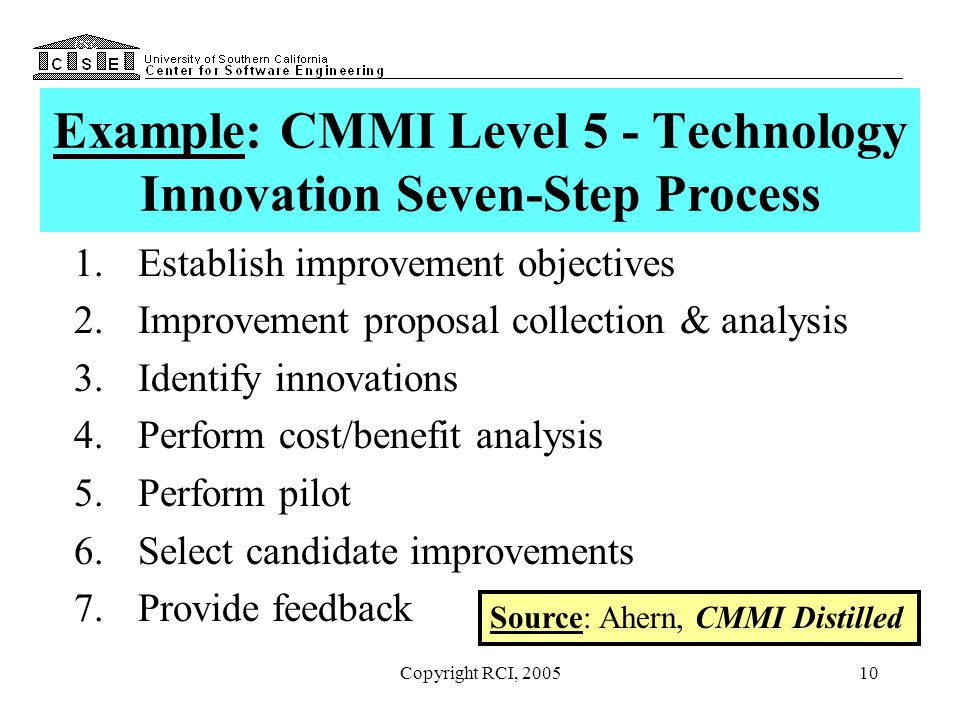 10 Example: CMMI Level 5 - Technology Innovation Seven-Step Process 1.Establish improvement objectives 2.Improvement proposal collection & analysis 3.