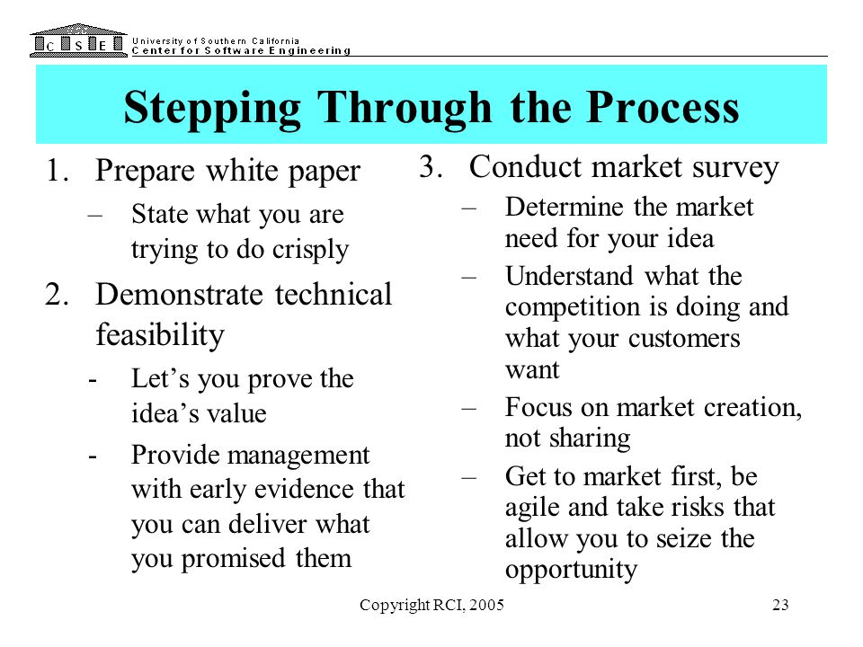 Copyright RCI, 200523 Stepping Through the Process 1.Prepare white paper –State what you are trying to do crisply 2.Demonstrate technical feasibility